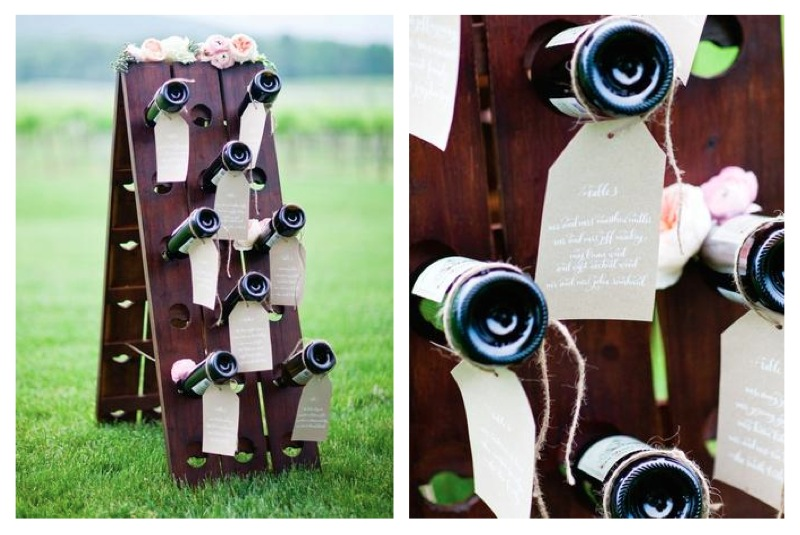 Charlottesville Wedding Wine Riddling Rack Escort Card Display