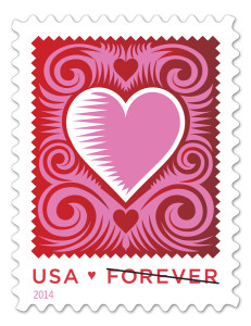 usps cut paper hearts love stamp