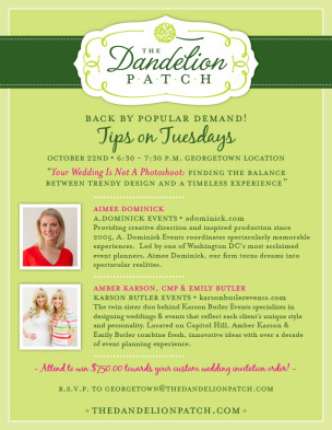 """Featured Speakers at The Dandelion Patch """"Tips on Tuesdays"""" Georgetown Event!"""